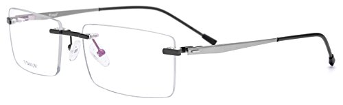 FONEX Optical Eyewear Unisex Myopia Prescription Eyeglasses Titanium Alloy Rimless Square Frame 8828 - Rimless Eyeglass