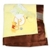 Disney Winnie The Pooh Plush Satin Trim Baby Blanket, Yellow/Brown (Discontinued by Manufacturer)
