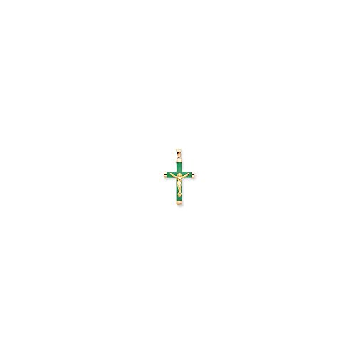 Quinn's Gold 14k Green Jade Crucifix Pendant (Green Jade Crucifix)