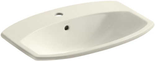 KOHLER K-2351-1-47 Cimarron Self-Rimming Bathroom Sink, Almond