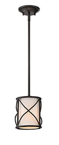 Designers Fountain 88630-ORB Avara - One Light Mini Pendant, Oil Rubbed Bronze Finish with White Fabric Shade