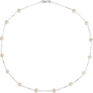 Argent sterling 5.5-6mm Culture d'eau douce perles Station 45,7cm-Collier Femme