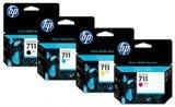Genuine HP 711 CZ133A, CZ134A, CZ135A, CZ136A Ink Cartridge Set BCYM for HP DesignJet T120, T520 - Retail Packaging