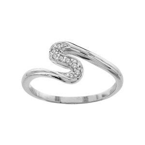 1001 Bijoux - Bague argent rhodié forme S pierres blanches