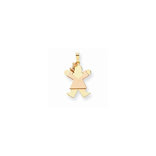 14k Two-Tone Small Girl with Bow on Left Engravable Charm by VI STAR