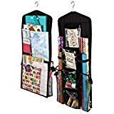 AOTUNO Double-Sided Hanging Gift Wrap Organizer Storage Bag,Wrapping Paper Storage Holder(Black) by AOTUNO