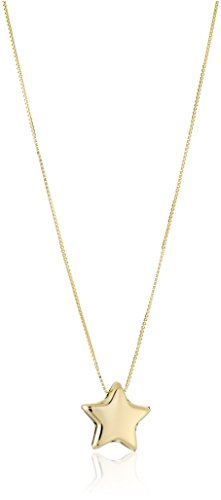 14k Yellow Gold Italian Box Chain Adjustable Star Pendant Necklace, 18