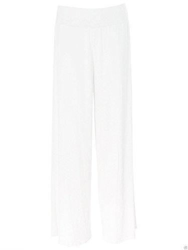 pantaloni Signore Bianco larghi rigonfio gamba XXL Janisramone pantaloni a palazzo tratto Z5AxaH5q