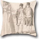 Oil Painting Paul Sandby - A Family In Hyde Park Pillowcover 16 X 16 Inches / 40 By 40 Cm For Couch,kids Room,son,family,festival,christmas With Double Sides