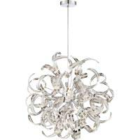 Ribbon Collection Pendant Light - Quoizel RBN2823CRC Ribbons Curved Metal Foyer Pendant Ceiling Lighting, 12-Light, Xenon 480 Watts, Crystal Chrome (23