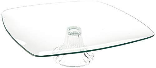 Circleware 55165 Chic Large Square Glass Cake Stand Plate Home and Kitchen Entertainment Food Serving Platter for Fruit, Ice Cream, Dessert, Salad, Cheese, Candy, Best Selling Gifts 12