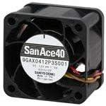SANYO Denki 9GA0412P3H01 DC Fan Sq40x28mm 12VDC 3.36W Plastic F//B 19.1CFM LoPow Tch PWM Duty 0/% 4.6CFM