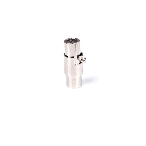 (6pcs 4mm Hole Copper silver-plated Magnetic Clasp Lanyard Safety Breakaway Connector For Paracord FLQ083-1)