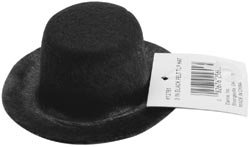 Darice Bulk Buy Stiffened Felt Top Hat 3 inch Black 12761 (6-Pack) -