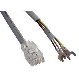 Flat Silver Satin Modular Cables Plug to Spade Lug, RJ11 (4 conductors)