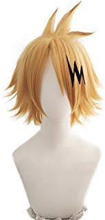 magic acgn Yellow Cosplay Wig Party For Men Short with hairpin Halloween Wig