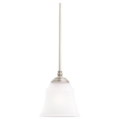 Sea Gull Lighting 61380-965 Single-Light Mini-Pendant, Satin Etched Glass Shade, Antique Brushed Nickel
