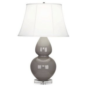 Robert Abbey A750 Lamps with Pearl Dupioni Fabric Shades, Lucite Base/Smokey Taupe Glazed Ceramic Finish - Robert Abbey Double Gourd
