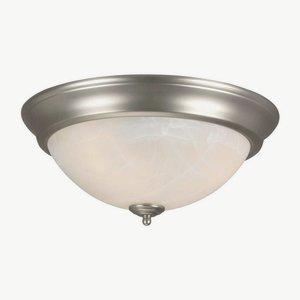 Craftmade X215-BN Bowl Flush Mount Light with Alabaster Swirl Glass Shades, Brushed Nickel Finish