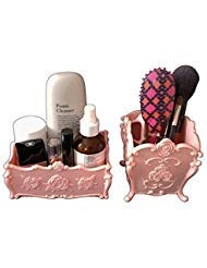 Decorative Makeup organizer, Acrylic Cosmetic Display Box, Brush holder, Bathroom Vanity Container Set of 2(Pink) ()