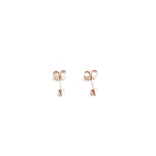 HONEYCAT Tiny Cone Spike Stud Earrings in 18k Rose Gold Plate | Minimalist, Delicate Jewelry (Rose Gold)