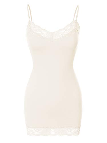 Ribbed Lace Tank Top (Design by Olivia Women's Adjustable Spaghetti Strap Lace Neck Camisole Top Ivory M)