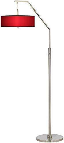 Modern Arc Floor Lamp Brushed Nickel All Red Pattern Giclee Drum Shade