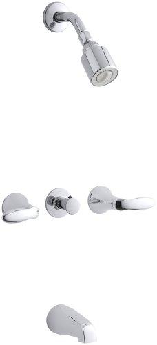 KOHLER K-T15231-4-CP Coralais Three-Handle Bath and Shower Faucet Trim, Polished Chrome