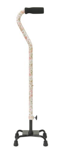 Drive Medical Designer Series Small Base Quad Cane with Comfortable Foam Rubber Hand Grip, Floral Design, Small Base Drive Medical Designer Series