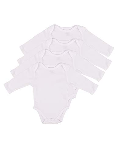 (Leveret 4 Pack Long Sleeve Bodysuit 100% Cotton White 6-12 Months)
