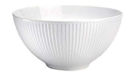 Pillivuyt, Plissé White Porcelain Individual Salad/Cereal Bowl, 6 Inches Diameter, 14 Oz