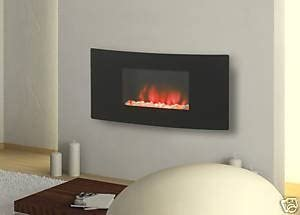 Charlton Jenrick Curved Glass Wall Mounted Hang On The Wall Led Electric Fire With Backlight