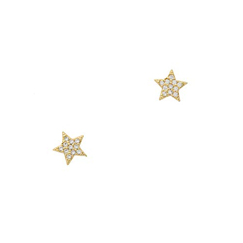 Columbus 14K Gold Dipped Star Stud Earrings - Pavé Star Post Studs (Gold CZ Star)