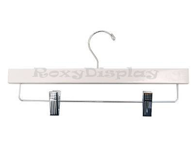 (HA-500WH_100Unit) 14'' White Wooden PANT/SKIRT Hangers with clips, 100 Units by Roxy Display