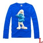 Cute Latest The Smurf Style 100% Cotton Long-Sleeve T-Shirt-Brainy Smurf Pattern/Size L