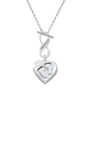 Silvertone Baby Feet Heart Locket Friends Infinity Toggle Chain Necklace