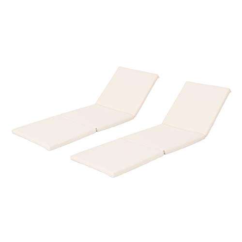 Great Deal Furniture 303999 Jessica Outdoor Water Resistant Chaise Lounge Cushion (Set of 2), Cream