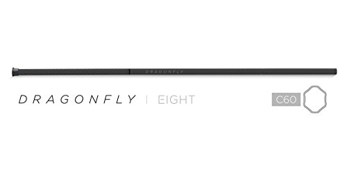 Epoch Lacrosse Shaft - Dragonfly   8, 60 Mid-Flex iQ8, Concave Geometry, Made in USA, Removable End Cap, 1-Year Warranty, Carbon Black