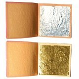 sim gold leaf Premium Set Of 10 Gold + 10 Silver Leaf Sheets By 24K, 1.4 x 1.4 Edible Gold Sheets &1.6 x 1.6 Silver Sheets For Your Baking, Arts, Crafts, Decoration & Restoration Projects