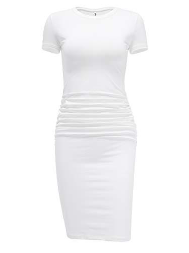 Laughido Women's Ruched Casual Plain Sundress Knee Length Sheath Bodycon T Shirt Dress (Short Sleeve Cream White, X-Small)