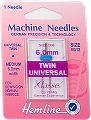 Hemline H110.60 Med Twin Universal Machine Needle 80/12 (6mm) Decorative Sewing by Hemline