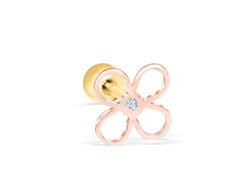 4 Leaf Clover Post Earrings - ONDAISY 14K Real Real Solid Rosegold Simulated Diamond Cz Lucky Tree 4 Four Leaf Clover Flower Barbell Ball Ear Stud Post Earring Piercing For Women Girls