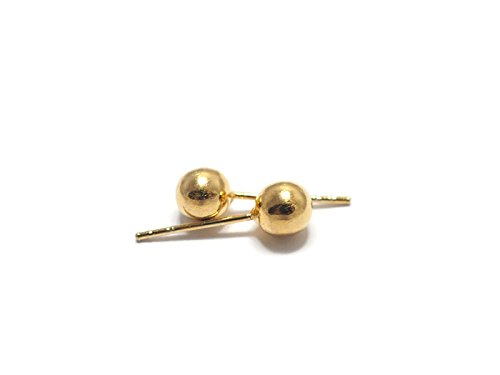 5mm Gold Ball Stud Earring (14K Gold Plated) (Evil Bunny Costume)