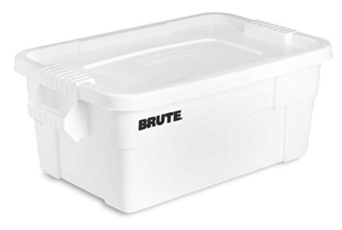 (Rubbermaid Commercial Products BRUTE Tote Storage Container with Lid, 14-Gallon, White (FG9S3000WHT))