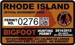 "Rhode Island Bigfoot Hunting Permit 2.4"" x 4"" Decal Sticker"