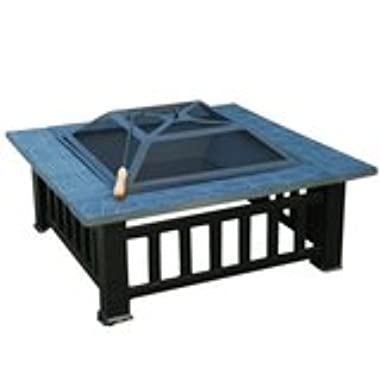 Outsunny Square 32  Outdoor Backyard Patio Metal Firepit
