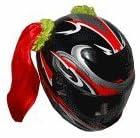 Red Motorcycle Helmet Pigtails