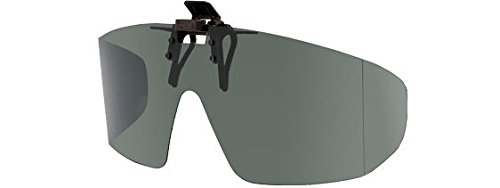 Polarized Grey Clip-on Flip-up Sunglasses - Wrap Frame Style - 65mm Wide X 55mm High (140mm - Sunglasses Flipup