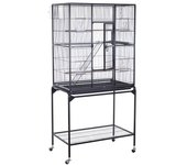 "Pawhut Large Metal Bird Cage Aviary w/ Stand - 32"" x 18"" x 6"