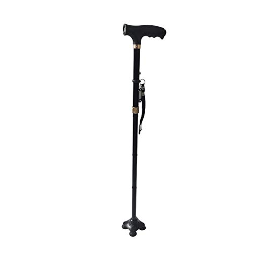 Folding Walking Cane with LED Light,SIN+MON Adjustable & Portable Walking Stick, Lightweight,Pivoting Quad Base, Collapsible Foldable Crutch for Men/Woman, for Fathers Mothers Gifts (Black)